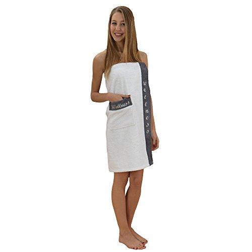 Class Home Collection Damen Frottee Baumwolle Sarong Saunakilt Wellness Stickerei Weiß/Anthrazit
