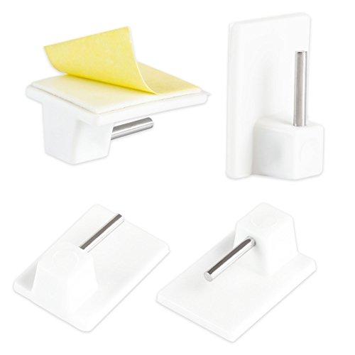 LEMESO 20x Gardinenhaken Klebehaken Selbstklebend Haken Weiß für Gardinenstangen Vitragestangen Gardinenhalter