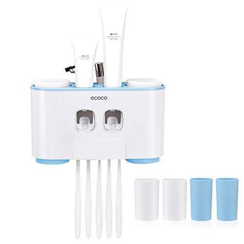 YOUDO Automatische Zahnpastaspender und Zahnbürstenhalter Set mit Wand Montiert - Hände frei 2 Zahnpasta Squeezers mit 5 Bürsten Set - für Kinder und Erwachsene