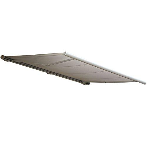 Mendler Elektrische Kassettenmarkise T122, Markise Vollkassette 4x3m ~ Polyester Sand, Rahmen anthrazit