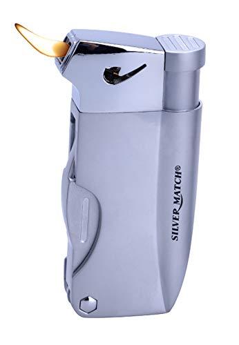 Feuerzeuge Pfeifenfeuerzeug, Gas Butan Nachfüllbar mit Integriertem Pfeifen-Besteck, Geschenkbox +1x (Konsumany Stab- Stumfeuerzeug 12,5 cm Lang) (1 Stück (Silber))