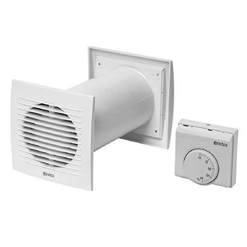 Ø 100mm Warmluft - Umlaufset Heiz-Spar-Set Lüfter Heizlüfter Wärmerückgewinnung Wärmetauscher Ventilator Ablüfter Warmluftverteilung mit Thermostat