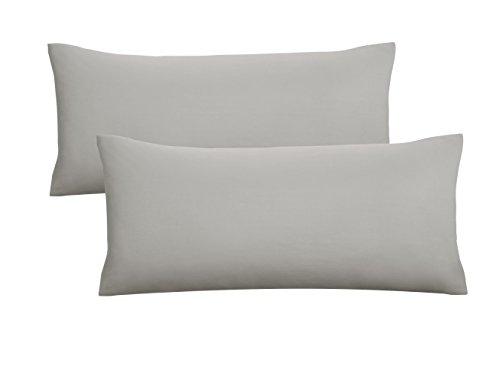 biberna 0077144 Jersey-Kissenhüllen aus 100% Baumwolle mit Reißverschluss, 2er-Pack, 40 x 80 cm Grau, 27 x 18 x 3 cm