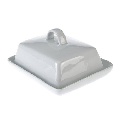 axentia Butterdose Porzellan in Weiß - Butterglocke modern & zeitlos - Butterschale für Küche & Haushalt - Butterbehälter platzsparend, klassisch & elegant - Butter-Box - Buttergefäß für 250 g Butter
