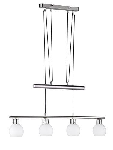 Trio Leuchten LED-JoJo-Pendelleuchte in Nickel inklusiv 4x E14, 4 Watt LED, Breite 78 cm, Höhe 85-180 cm, Glas opal matt weiß 324810407