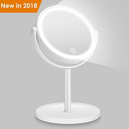 Kasimir Kosmetikspiegel mit Licht AIDBUCKS Schminkspiegel mit LED Beleuchtung Make up LED Reise Spiegel Batterie Via Touch-Screen und 360°Rotierbarer - Weiß