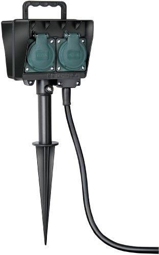 Brennenstuhl Gartensteckdose, Außensteckdose 4-fach mit Erdspieß, witterungsbeständiger Kunststoff (wasserfestes Gehäuse - 10m Kabel) Farbe: schwarz
