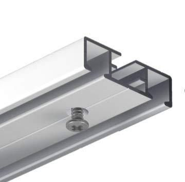 Gardineum 180 cm Vorhangschiene Gardinenschiene Aluminium alu-silberne Oberfläche 2-läufige Objektschiene - vorgebohrt! Alle Längen möglich!