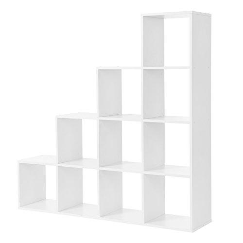 VASAGLE Bücherregal, Treppen-Regal, 10 Würfel-Fächer, Ausstellungsregal aus Holz, freistehendes Regal, Raumteiler, Weiß LBC10WTV1