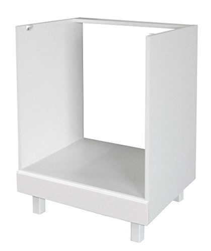 Berlenus Küchen-Unterschrank, Hochglanz-Weiß, 60 x 52