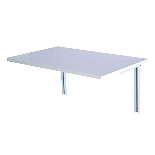 Homcom Wandklapptisch Wandtisch Klapptisch Esstisch Schreibtisch, MDF, natur/weiß, 60x40cm (Weiß)