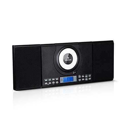 auna Wallie Microsystem • Stereoanlage • Microanlage • Kompaktanlage • 2 x 10 W RMS Stereo-Lautsprecher • Front-Loading CD-Player • UKW • Bluetooth • USB-Port • LCD-Display • Fernbedienung • schwarz