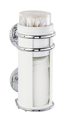Wenko 22852100 Express-Loc Wattepad- und Ohrstäbchenhalter Cali - Wattepadspender, Wattestäbchenhalter, Befestigen ohne bohren, Edelstahl rostfrei, 8 x 19 x 11 cm, glänzend