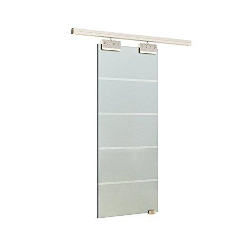 Homcom Glasschiebetür Schiebetür 2050x900x8 mm Tür Glastür Zimmertür mit Griffstange einseitig satiniert mit Streifen Komplettset
