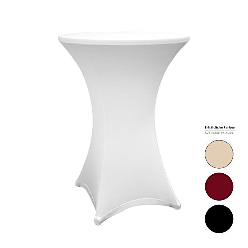 Lumaland hochwertige Stehtischhusse Tisch Bezug Husse pflegeleicht abwischbar stretch schnelltrocknend Ø 80-85cm Weiß