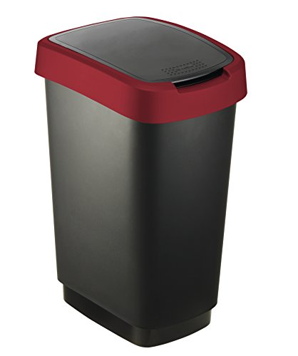 """Rotho Mülleimer """"Twist"""" 25 Liter - 33.3 x 25.2 x 47.6 cm - Papierkorb aus Kunststoff (PP) in schwarz/rot - Abfallbehälter mit Schwing- oder Klappdeckel"""