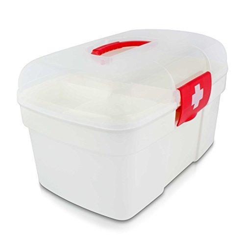 Medizinkoffer Tragbar mit Einlegefach - 27 x 18 x 17 cm - Medizinbox Medikamente Aufbewahrung und Transport - Grinscard
