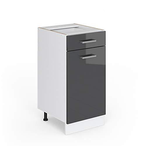 Vicco Küchenschrank R-Line Küchenzeile Hängeschrank Unterschrank Küchenschränke Küchenunterschrank Arbeitsplatte (anthrazit ohne Arbeitsplatte, Schubunterschrank 40 cm)