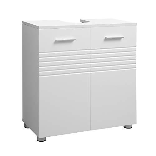 VASAGLE Waschbeckenunterschrank, Badezimmerschrank, Badschrank mit Doppeltür und Verstellbarer Ablage, Waschtisch fürs Badezimmer, sanft schließende Scharniere, 60 x 30 x 63 cm, weiß BBK01WT