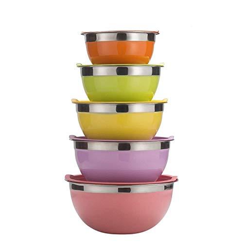 Raking Edelstahlschüssel Set 5 Stück mit Bunten Decke für Küche, Edelstahl Salatschüsseln Frischhalteschüssel Rührschüssel Rutschfest Schüsselset Große 5er Set (Bunt)