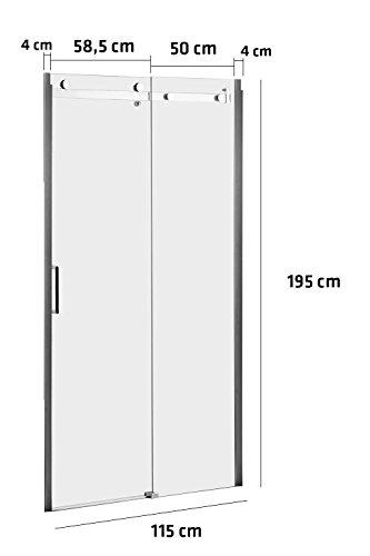 CLP Duschkabine KUONI, Duschabtrennung, Nischentür, Nano-Beschichtung, 8 mm Sicherheitsglas, Verschiedene Größen erhältlich, 115x195 cm