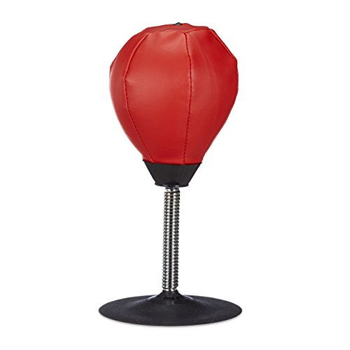 Relaxdays Punchingball Tisch, Boxbirne Schreibtisch, Büro Punching Ball, Anti Frust, HxBxT: 35 x 18 x 18 cm, rot-schwarz