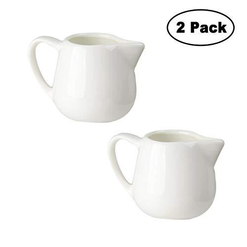 Tougo 2 Stück Milchkännchen, 100 ml Milk Pitcher Milchschaumkännchen Milchkanne Klein aus Keramik, Perfekt für Kaffee Sahne Soße, Weiß