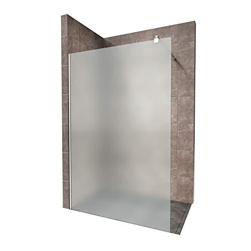 Duschabtrennung Duschwand Walk In Dusche 10mm STARK aus SATINIERTEM ESG Sicherheitsglas mit Edelstahl Wandprofilen #740 (140 x 200cm, Satiniertes Glas)