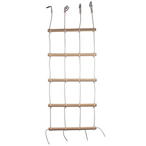 Kletterwand mit 4 stabilen Seilen und 5 robusten Holzstangen, Kletternetz/- Gerüst bis zu 120 kg belastbar, ab 3 Jahre