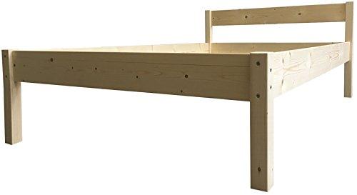 Seniorenbett erhöhtes Bett Holz mit Kopfteil Betthöhe 55cm massiv 90 100 120 140 160 180 200 x 200cm hergestellt in BRD (90x200cm, Betthöhe 55cm)