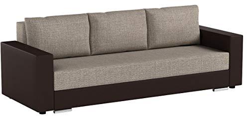 Schlafsofa Bird - Sofa mit Schlaffunktion und Bettkasten, Klappsofa, Schlafcouch mit Chromfüße, Couch, Bettsofa, Couchgarnitur, Sofagarnitur, Bettsofa