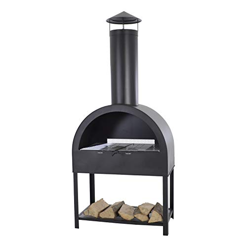 MACOShopde by MACO Möbel Gartenkamin Grill Terrassenofen Feuerstelle aus Stahl in anthrazit