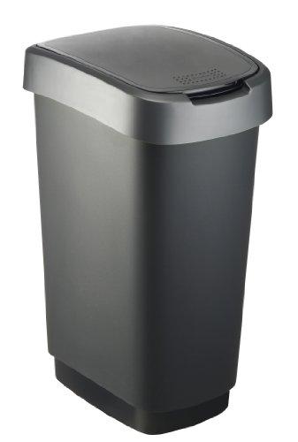 """Rotho Mülleimer """"Twist"""" 50 Liter - 40.1 x 29.8 x 60.2 cm - Papierkorb aus Kunststoff (PP) in schwarz/dunkelsilber - Abfallbehälter mit Schwing- oder Klappdeckel"""