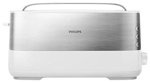 Philips Langschlitztoaster (Edelstahl) 8 Bräunungsstufen, Brötchenaufsatz, 1000 Watt, weiß HD2692/00