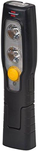 Brennenstuhl LED Taschenlampe mit Akku/Akku Handleuchte mit Schalter und Magnet zum flexiblen Einsatz (2 LEDs + 3 LEDs im Leuchtkopf) Farbe: schwarz