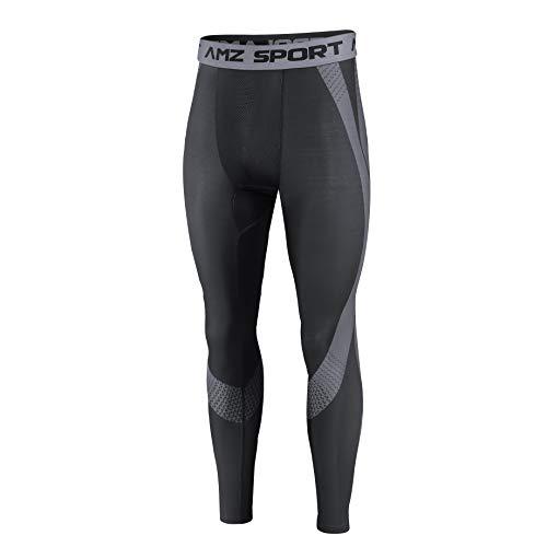 AMZSPORT Herren Kompressionshose Schnelltrocknende Laufhose Sporthose Atmungsaktive Trainingshose, Schwarz L