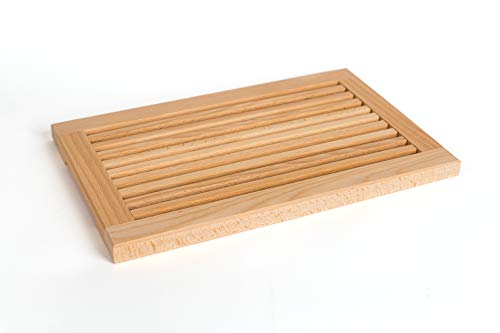 TNNature Brotschneidebrett mit Krümmelrille und Krümmelfang   Holz   Buche   Buchenholz 40x25x2,5 cm