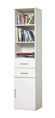 WILMES 40139-75 0 75 Regalschrank Ronny 1 Tür, Dekor Melamin, 40 x 178 x 39 cm, weiß