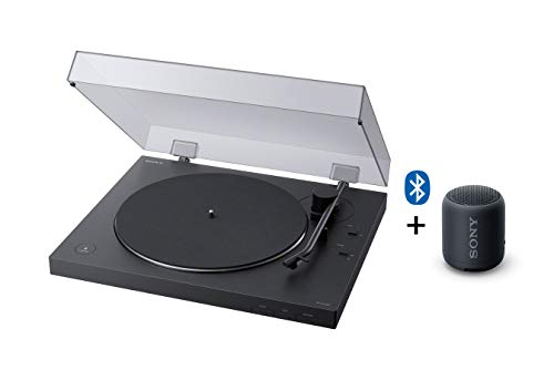 Sony PS-LX310BT Bluetooth Plattenspieler (Phono Vorverstärker, Auto-Play Funktion, Aluminium Plattenteller) Schwarz + Sony SRS-XB12 Bluetooth Lautsprecher