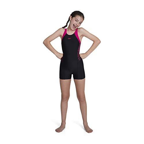 Speedo Mädchen Boom Splice Legsuit Swimwear, Black/Electric Pink, 152