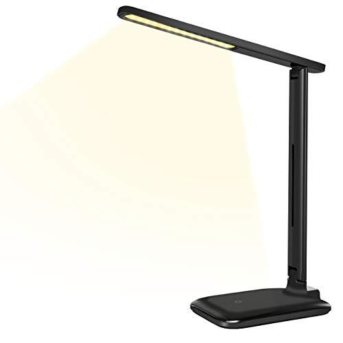 Schreibtischlampe LED Tischleuchte VICTSING mit Memoryfunktion Led Dimmbare Schreibtischlampe 3  Farb- und 3 Helligkeitsstufen durch Touchfeldbedienung klappbare LED augenfreundliche Nachttischlampe,  Schwarz