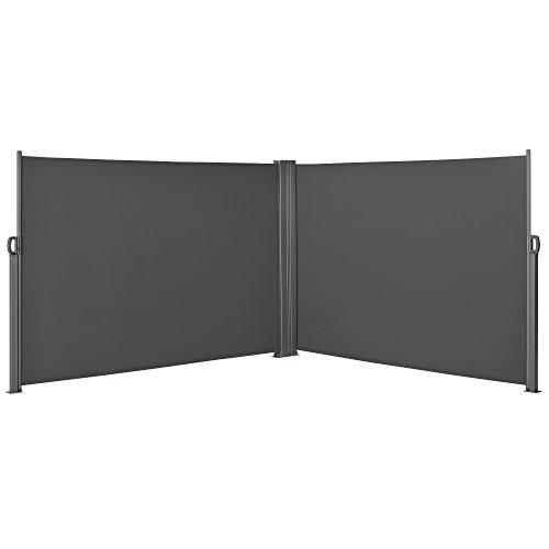 [pro.tec] Doppelte Seitenmarkise 2 x 180 x 300 cm Grau Sichtschutz Markise Sonnen- & Windschutz