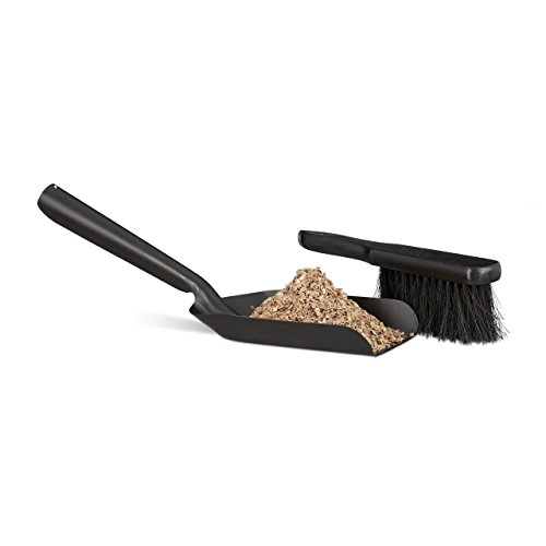 Relaxdays Kehrgarnitur klein, 41 cm, langlebiger Stahl, Set mit Handfeger und Kaminschaufel, Kohleschaufel, schwarz