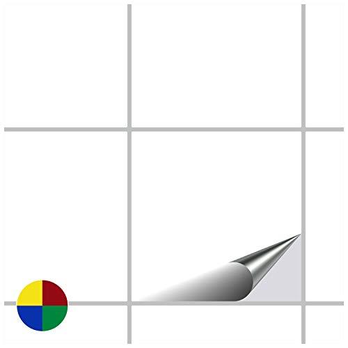 FoLIESEN Fliesenaufkleber für Bad und Küche - 15x15 cm - Weiss glänzend - 120 Fliesensticker für Wandfliesen