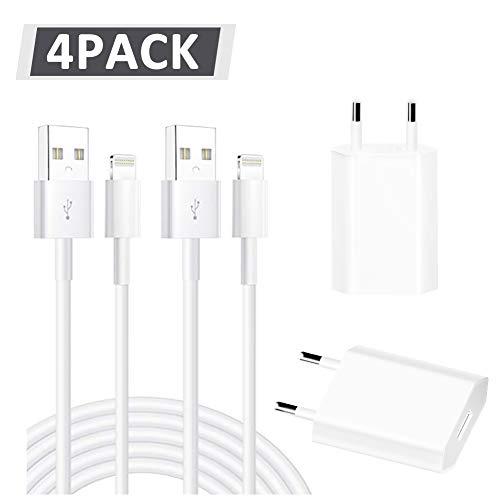 WNAUNG 2 Pack USB Netzteil Ladegerät (5 V / 1A) + 2x1Meter MFi Zertifiziert Phone Ladekabel Kompatibel mit 11/ Pro/Max/X/XS/XR/XS Max/ 8/ Plus/7/7 Plus/6/6S
