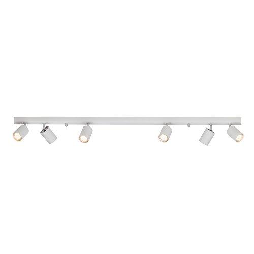 Design Deckenleuchte, Spotbalken 6-flammig weiß 6x GU10 max. 35W Länge: 1,19m