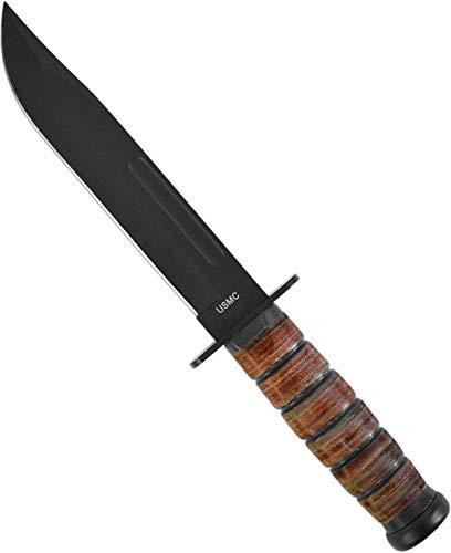 normani USMC Kampfmesser, Griff aus Lederringen Lederscheide, Schwarze Klinge Farbe USMC-Brown