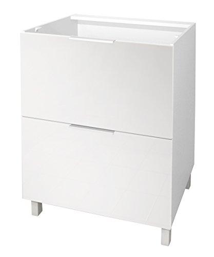 Berlenus CT6BB Küchenunterschrank mit 2Tür, 60 x 52 x 83cm, glänzend, Weiß