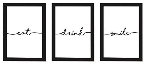 PICSonPAPER Poster 3er-Set eat, Drink, Smile, schwarz gerahmt DIN A4, Dekoration, Kunstdruck, Wandbild, Typographie, Geschenk (Schwarz gerahmt DIN A4)