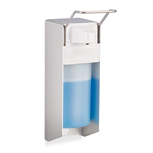 Relaxdays Eurospender 500 ml, Seifenspender Wandmontage, Desinfektionsmittelspender, Bügel-Mechanik, weiß